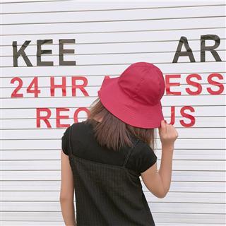 新款纯色盆帽可折叠韩版潮男女渔夫帽春夏简约百搭防晒遮阳帽