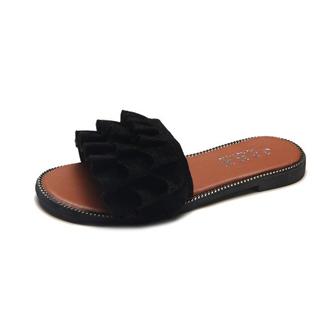 新款拖鞋女韩版时尚木耳花边外穿一字拖罗马沙滩女鞋