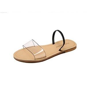 拖鞋女夏季韩版休闲沙滩拖鞋透明带一字拖度假时尚女鞋