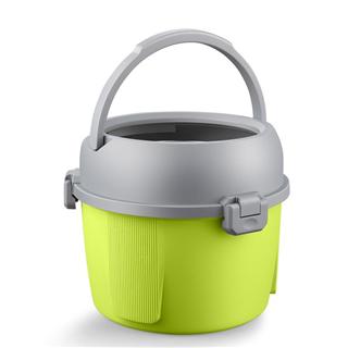 免手洗手压式干湿两用单桶双驱自动带出水口旋转桶好神拖2个头(绿色+蓝色+粉红色)