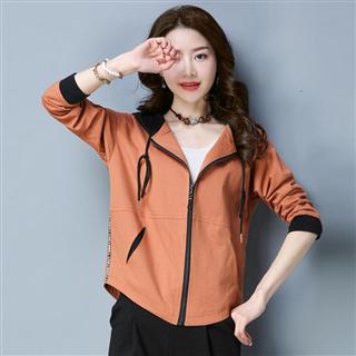 秋季新款女装韩版修身显瘦连帽水洗棉短外套