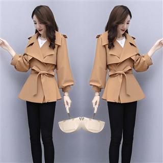 简约个性纯色风衣秋季中长款九分袖修身百搭时尚外套