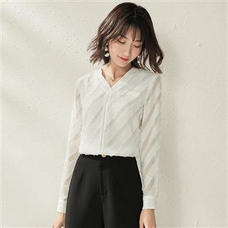 秋季新款欧美品牌女装长袖雪纺白色衬衫宽松显瘦打底衫上衣女