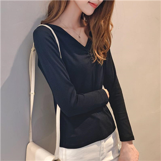 秋装新款韩版女装时尚修身百搭纯色V领长袖T恤女打底衫