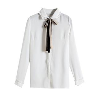 秋款新品女装衬衫女百搭荷叶领气质上衣春秋时尚长袖打底衬衣