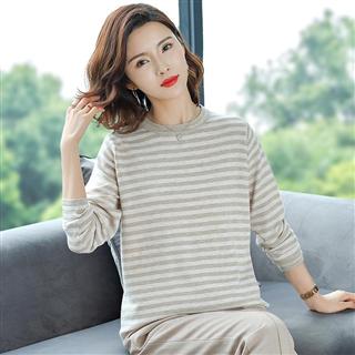 薄款宽松横条纹显瘦毛衣女秋季新品韩版圆领时尚减龄针织衫