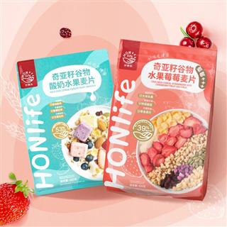 HONlife好麦多酸奶水果草莓燕麦片300g+420g网红即食代餐食品(酸奶水果麦片+莓莓麦片)