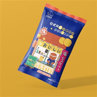 【三袋装】}法思觅语网红推荐淡盐味薄脆日本风味小圆饼零食130g/袋(海盐味+牛乳味)
