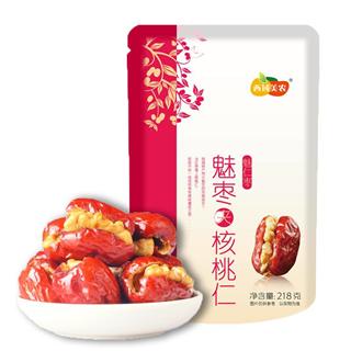 【两包装】西域美农魅仁枣鲜枣夹核桃仁218g新疆特产干果零食