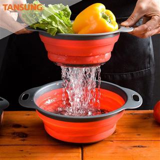 圆形双层折叠沥水篮套装厨房水果篮创意洗菜篮