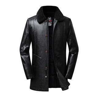 228包邮冬季中年男士皮衣男装脱卸内胆加棉加厚中年皮夹克保暖皮衣外套