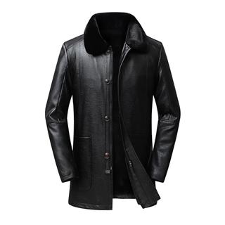 2019冬季新款中年男士大码皮衣男装大毛领加绒加厚中年皮夹克保暖皮衣外套