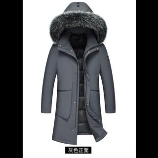 2019时尚新款男士羽绒服男中长款大毛领防寒保暖厚冬装外套新款保暖外套