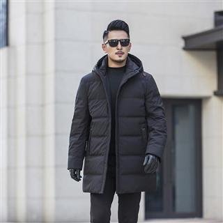2019新款冬装男士加厚保暖羽绒服外套加肥加大码连帽中长款羽绒服