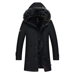299包邮时尚保暖羽绒服男中长款真毛领极寒加厚保暖工装防寒服冬季外套
