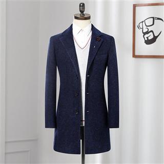 品牌剪标 2019秋冬季新品西装领毛呢大衣 舒适男式保暖大衣外套 4E065A