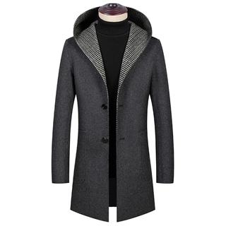 2019秋冬新款两面穿毛呢大衣男中长款连帽羊毛呢子风衣双面呢外套