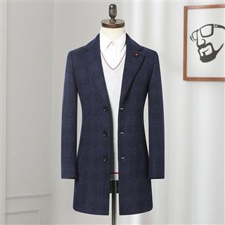 品牌剪标 2019冬季新品舒适有型针织毛呢大衣男 格纹羊毛混纺大衣 4E063A