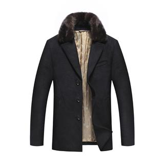 品牌剪标 2019冬季新品男装商务休闲保暖呢大衣 男士毛领毛呢大衣