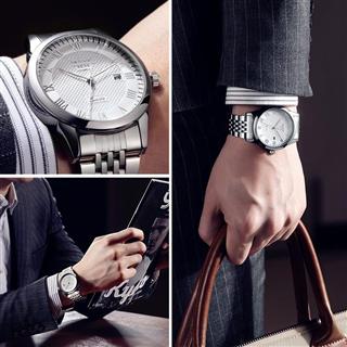 雷克斯时尚简约防水手表男士石英手表钢带