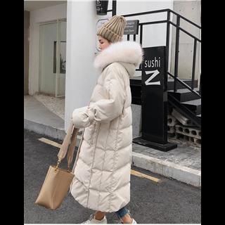 2019秋冬新款东大门白色中长款加厚宽松大毛领过膝羽绒服