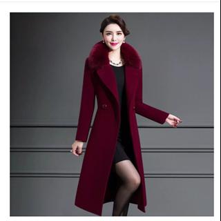 199包邮毛呢加厚外套女中年女士狐狸毛领中长款秋冬过膝洋气羊毛呢子羊绒大衣