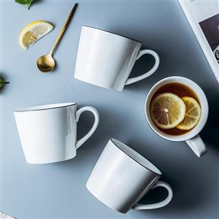 欧式黑线陶瓷水杯马克杯咖啡牛奶早餐杯