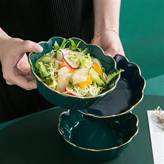 创意色釉金边沙拉碗陶瓷饭碗水果碗甜品碗家用餐具