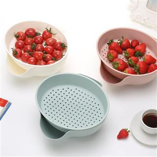 【两个装】欧式双层果盘塑料沥水盘圆形干果盘创意家居用品