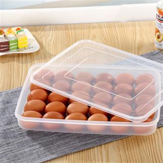 【买一送一】家用鸡蛋收纳盒30格塑料单层透明保鲜冰箱收纳盒