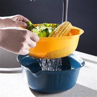 【买一送一】厨房多功能双层沥水篮食品级塑料水果神器洗果盘菜篮