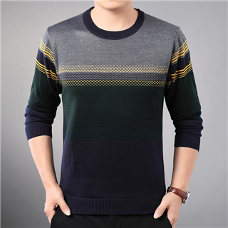 冬季男装圆领保暖针织衫套头毛衣修身韩版青年帅气百搭男士打底衫