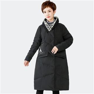 冬季加厚中长款过膝羽绒服女装2019新款立领休闲字母撞色保暖外套