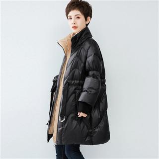 冬装收腰显瘦加厚羽绒服新款中长款大气立领欧美风时尚优雅外套女