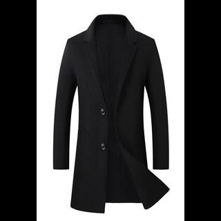 468包邮70%羊毛秋冬新款男士时尚修身纯色中长款两粒扣男款双面羊毛大衣