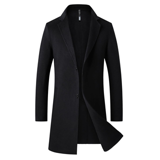 70%羊毛男士双面呢羊绒大衣中长款秋冬加厚时尚修身羊毛呢外套男