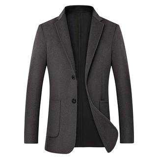冬季羊毛呢子大衣男短款加厚双面呢外套修身韩版休闲西装上衣潮