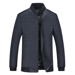 99包邮2020春季新款时尚爆款棒球领薄款夹克中年男士宽松格子外套