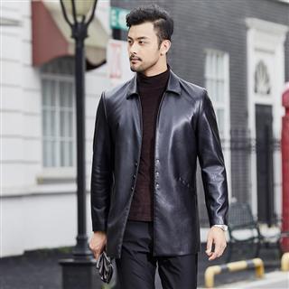 春季新款男士翻领仿真皮皮衣中长款水洗皮时尚修身商务皮夹克外套