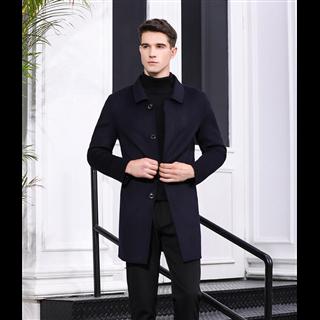 2020秋冬新款英伦风毛呢大衣男中长款男士商务呢子大衣 50%羊毛