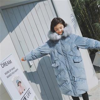 【女装】2020新品韩版时尚丝绒长款棉衣冬装 带帽大衣 2色入