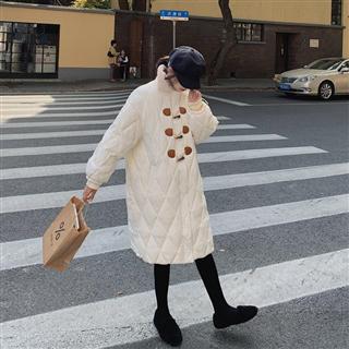 【女装】秋冬新款羊羔毛领子牛角扣棉衣 2色入
