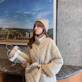 【女装】2020日韩新款 羊羔毛格子棉衣 2色入