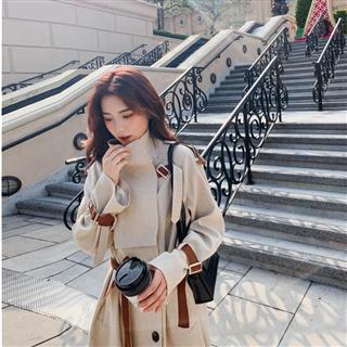 【女装】日韩新品 小格子拼色女士风衣 中长款