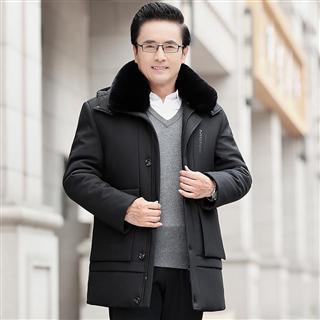 198包邮 冬季男士棉衣加绒加厚中年爸爸装棉服外套可脱卸内胆