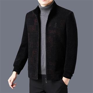 秋冬男士雪尼尔夹克中年男装加厚毛呢短款加棉外套