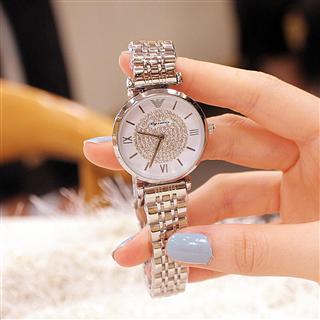 手表满钻石英防水钢带时尚简约潮流腕表