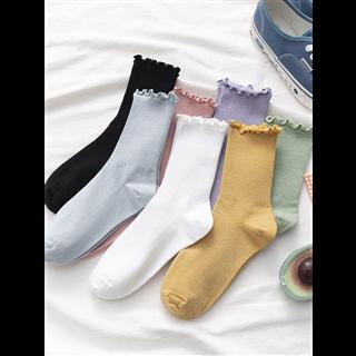 【10双7色 29.9元】木耳边女中筒袜 夏季薄款ins潮日系堆堆袜花边长袜夏天