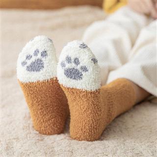 【6双/6色 29.9元】月子袜 珊瑚绒中筒女袜 猫爪保暖加厚加绒地板袜 长筒