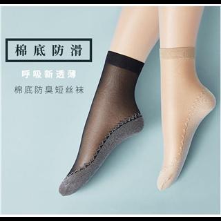 【10双/4色 18.8元】女士丝袜短袜ins潮中筒薄款防勾丝防滑透气肉色女袜